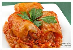 Hungarian-Style Stuffed Cabbage from MyGourmetConnection---- Try this family recipe for Hungarian stuffed cabbage, a combination of ground pork, veal, tender cabbage and tomatoes - comfort food at it's best.