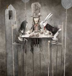 Gabriel Pacheco  Alice, the Mad Hatter and the White Rabbit have tea.