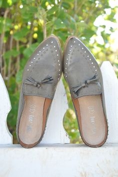 643a37fb8ce Adeline Studded Loafers - Grey