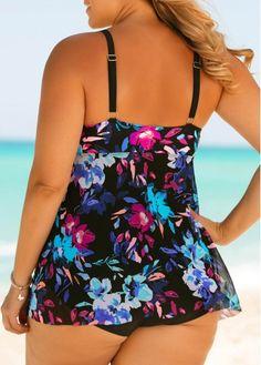Plus Size Printed Spaghetti Strap One Piece Swimwear Floral Swimsuit, Black Swimsuit, Bikini Swimsuit, Plus Size Swimwear, One Piece Swimwear, Curvy Fashion, Women's Fashion, Bikini Fashion, Swimsuits