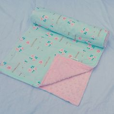 Pink and Mint Baby Blanket- Pink Roses- Mint and Gold- Minky Blanket- Baby Blanket with Pink Roses by WatchMyDive on Etsy