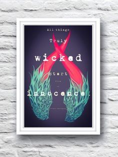 Ernest Hemingway Quote // All things Truly Wicked Start from an Innocence //  Trippy Colorful Devil Horns & Angel Wings Poster Print by SargentIllustration, $30.00