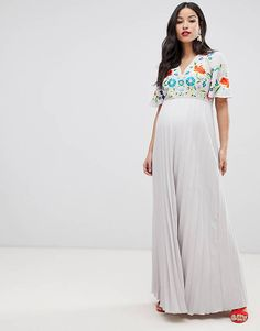 4f2c2d6eead32 ASOS DESIGN Maternity pleated embroidered maxi dress Asos Maternity,  Maternity Fashion, Maternity Style,