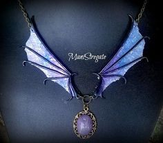 necklace dragon's wings polymer clay handmade di manistregate