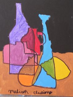 A bold contour line drawing from Art Jumble class using overlapping and color mixing.