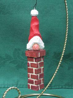 Hand Carved Santa Tree Ornament $20.00, via Etsy.