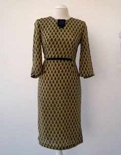 Soft yellow with blue and green flowers Silk Dress. Luci Lü by twyggi. Explore more products on http://twyggi.etsy.com