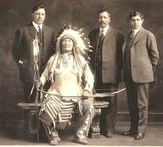 Mountain Chief (Ninastoko, 1848-1942, last hereditary chief of the Piegan Blackfeet) and Sons.  Major Eugene Baker had been looking for him when he blundered into Heavy Runner's band and the result was the Marias Massacre, 1870.  Mountain Chief and his band had escaped to Canada.