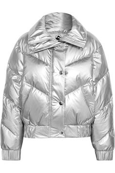 Cordova The Snowbird metallic quilted down ski jacket from Net-A-Porter. How chic would this be on the slopes? I'm dreaming of a white christmas in Aspen, CO or the Swiss Alps! How fabulous would that be? Winter Coats Women, Coats For Women, Jackets For Women, Winter Jackets, Silver Puffer Jacket, Aspen Ski, Aspen Colorado, Women's Puffer Coats, Skiing
