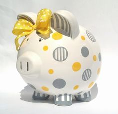Dots and Stripes Personalized Piggy Bank by SamselDesigns Pottery Painting, Ceramic Painting, Living Room Playroom, Pig Bank, Cerámica Ideas, Personalized Piggy Bank, Childhood Cancer Awareness, Cute Piggies, Baby Invitations