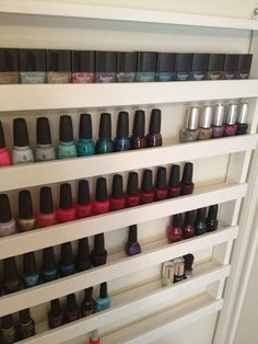 DIY Nail Polish rack  http://product-hag.blogspot.com/2012/02/how-to-build-your-own-nail-polish-rack.html