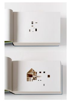 Incredible cut-out negative spaces house through the pages of a book. Olafur Eliasson - Your House