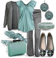 Aqua/Grey Outfit