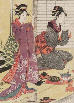 Two women at a party. Ukiyo-e woodblock print, 1780-1800 ,  Japan, by artist Chokosai Eisho.