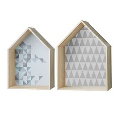 Set of House Shaped Display Boxes with Geometric Print House Shelves, House Wall, Display Boxes, Display Shelves, Promotional Design, Box Houses, Large Homes, Little Houses, Decoration