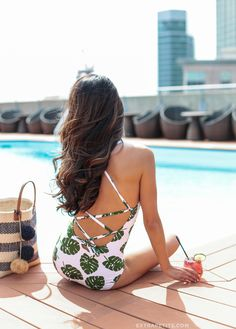 <summer swimsuit> palm print lace-up back one piece (the fit is good for petite women!)
