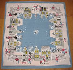 Vintage Swedish Mid Century Christmas Winter City Tablecloth by Kajsa Nordström | eBay