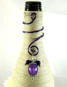 Purple Swirled Wine Bottle Charm.