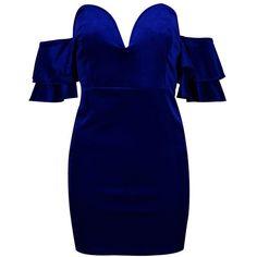 Boohoo Flo Velvet Off the Shoulder Bodycon Dress ($27) ❤ liked on Polyvore featuring dresses, velvet bodycon dress, blue cocktail dress, midi cocktail dress, off the shoulder midi dress and blue dress