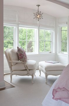 chair & ottoman plus Moravian star light fixture in the window alcove