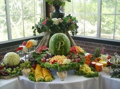 fruit table display ideas | Pretty Fruit Displays | Fruit and cheese display. Love the monogram ...