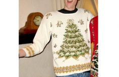 Big White Christmas Tree Tacky Ugly Christmas Sweater $25