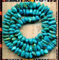 "Southwest Kingman Mine Turquoise Nugget Beads Blue Green Natural 16"" Strand   eBay"