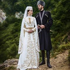 Ossetian Couple in beautiful traditional Costumes.