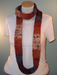 Orange Blue and Brown Infinity Scarf Womans Knit by JandSKnitts, $22.00