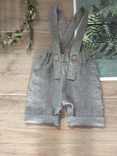 Simply Grey Kids linnen salopet shorts