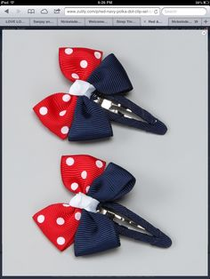 Take a look at this Red & Blue USA Bow Clip Set by Monkey Loves Bownanas on… Diy Hair Bows, Making Hair Bows, Ribbon Hair Bows, Diy Bow, Bow Hair Clips, Hair Barrettes, Headbands, Hairbows, Do It Yourself Inspiration