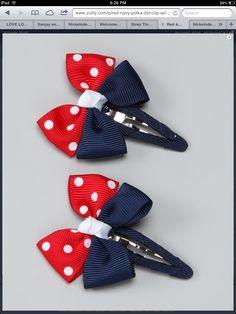 Take a look at this Red & Blue USA Bow Clip Set by Monkey Loves Bownanas on… Ribbon Hair Bows, Diy Hair Bows, Diy Bow, Ribbon Art, Hair Barrettes, Hair Clips, Headbands, Hairbows, How To Make Bows