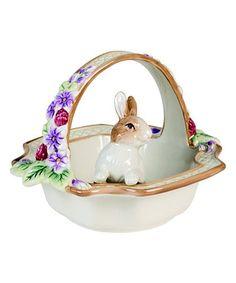Botanical Bunny Basket Figurine #zulily #zulilyfinds