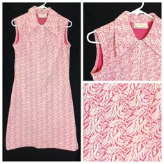 """Vntg 60s or 70s A-line dress Cute hot pink and white patterned polyester dress zips up the front.  Has collar.  Lined with hot pink.  Bust is about 35 inches.  Length 39 inches.  Easy to care for.  Machine wash gentle and hang to dry.  Tag says """"made by Arlene Andrews"""". Vintage Dresses Midi"""