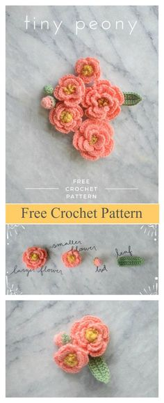 crochet flowers The peony is among the longest used flowers in Eastern culture and is one of the smallest living creature national emblems in China. This Tiny Peony Flower Free Crochet Motifs D'appliques, Crochet Motifs, Crochet Stitches Patterns, Knitting Patterns, Free Crochet Flower Patterns, Beau Crochet, Crochet Puff Flower, Flower Applique, Crochet Roses