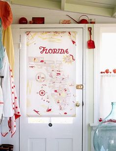Vintage Florida Tea Towel Map