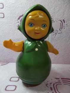 Vintage Soviet Roly Poly Doll. Nevaliashka - celluloid. Made in the USSR 1950-1960 year.
