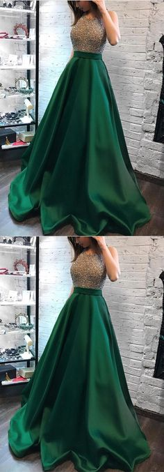 Green Satin Long Ball Gowns Prom Dresses Beaded Halter Neckline Evening Dress For Formal Occasions Royal Blue Prom Dresses, Open Back Prom Dresses, Formal Dresses, Indian Gowns Dresses, Dance Dresses, Ball Gowns Prom, Ball Dresses, Satin Gown Prom, Shopping Outfits