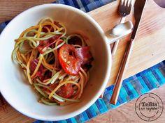 Telita na Cozinha: esparguete com bacon assado e tomate