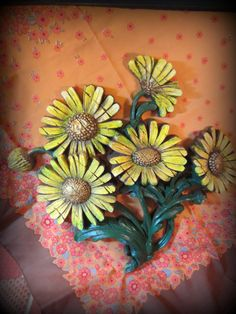 """Vintage Sunflower Wall Hanging made by a company by the name of Syroco and proudly assembled in the USA – originally made in the late 60s, made of heavy durable plastic and designed to look like a wood carving, giving off that rustic folk-art feel. Measured at about 14.5"""" wide and around 14"""" tall and standing out from the wall at only 1-1.5"""" deep."""