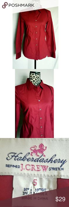 JCREW TOP Classy deep red long sleeve button up top from JCREW. Good condition with all buttons. J. Crew Tops