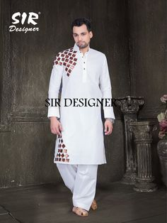Mens Designer festive cotton pathani suit with collar neck, short button placket and full sleeves and curve hem. Comes with matching bottom. India Fashion Men, Indian Men Fashion, Pakistan Fashion, Mens Fashion, Pathani For Men, Gents Kurta Design, Pathani Kurta, Mens Indian Wear, Fancy Dress Design