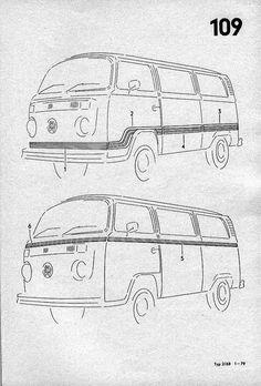 56 best vw t2 line drawings images on pinterest volkswagen bus vw original vwoa dealer instructions on stripe installation fandeluxe Image collections