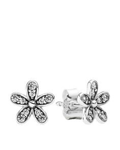 PANDORA Earrings - Sterling Silver & Cubic Zirconia Dazzling Daisy Studs | Bloomingdale's