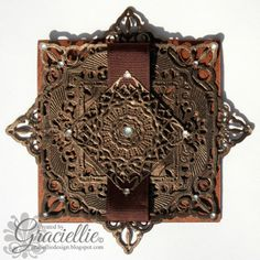 """Graciellie Design: DT, Dies R Us Challenge #3 - """"One for the Boys/Father's Day"""", Spellbinders Adorning Squares, Spellbinders Gold Circles One."""