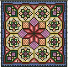 Mandala, Cross Stitch Designs, Cross Stitch Patterns, Cross Stitching, Cross Stitch Embroidery, Bargello Patterns, Cross Stitch Geometric, Cross Stitch Cushion, Graph Paper Art