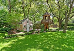 Your kids will go nuts for this ultimate backyard play area -- complete with playhouse and treehouse!