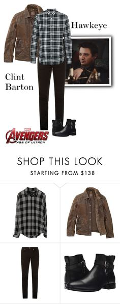 """Clint Barton/Hawkeye - Avengers : Age Of Ultron"" by gone-girl ❤ liked on Polyvore featuring Rails, Timberland, McQ by Alexander McQueen, Aquatalia by Marvin K., Officine Générale, Marvel, men's fashion, menswear, marvel and Hawkeye"