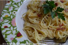 Elizabeth's Spaghetti Carbonara (a lighter version of the traditional)