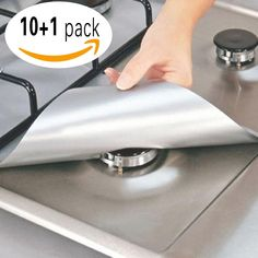 10 Pack Reusable Non-Stick Dishwasher Safe Gas Range Stove Burner Covers Stovetop Burner Protectors Cut to the Correct Size to Fit Your Size + Free Mini Scissor(Silver)